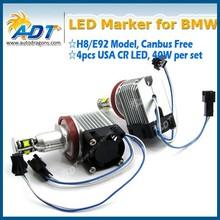 China Supplier!!!40W USA CR E92 H8 LED Angel Eyes Halo Ring Marker Light Bulbs Xenon White 6000K for BMW E87 E82 E90 E91 E92 E60