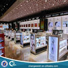 acrylic and wood cosmetics stands used in airport store