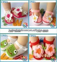 lindo ganchillo de la mano zapatos de bebé de moda crochet tejer zapatos de bebé de flores de ganchillo bebé niñas zapatos