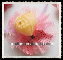 handmade mesh rosette with little bow flower, fabric rosette for little girl, flower girl headpiece