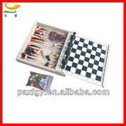 wooden combination chess game set 5 in 1 chess box