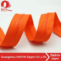 NO.5 orange tape long chain plastic cover zipper