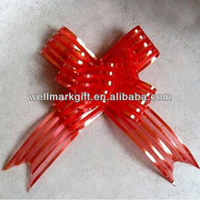 HOT SALE ! New Material Red Organza / Organdy / Mesh / Sheer Woven Fabric Ribbon Butterfly Pull Bow