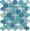 EMSFAS006 blue glass mosaic tile, Fan shape glass mosaic tile,fish scale mosaic tile