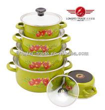 5PCS Set Black Bottom Porcelain Enamel Cookware