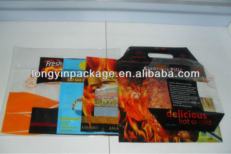 안티 안개 슬라이드 지퍼 회전 통닭 치킨 가방/ plastic 가방 뜨거운 음식/ 비닐 봉투 지퍼 핫 치킨