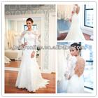Sexy Sheer Long Sleeves Lace Mermaid vestidos de novia Wedding Dresses 2014 Backless Beaded Bridal Gowns BO3113
