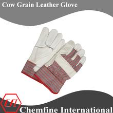 red stripe, full palm, beige cow grain leather work gloves/ EN388
