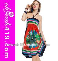 R76466 Wholesale floral lady dress cheap women beach dresses
