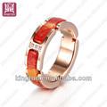Antiguo los anillos de color rojo de la turquesa anillos de piedra de la joyería de canal