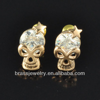 Yiwu Brass Jewelry Factory Direct Price Cheap Wholesale Raw Brass Skull Stud Earrings for Men