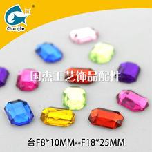 good quality made in China yiwu market guojie glue on flat back rectangle shape for bracelet decoration acylic jewelry bead