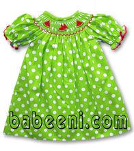 Watermelon smocked dolls dresses