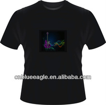 Popular design 100% cotton round neck led t shirt led music light t shirt