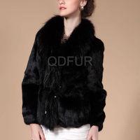 QD29390 2014 Short Outerwear Wholesale Short Style Real Whole-hide Rabbit Fur Women Jacket with Fox Fur Trim