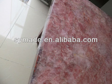 Translucent gemstone pink quartz slab