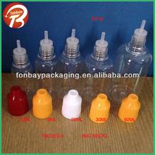 10ml 15ml 20ml 30ml 50ml empty plastic clear PET e liquid bottle with long thin tips&childproof cap eye dropper bottle