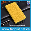 Leopard pattern wallet stand cover for s4 i9500 flip phone case