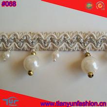 china silver line hand made tassel fringe & tassel trim for curtain