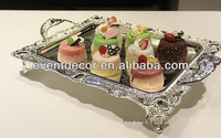silver plated serving tray with handles 3059