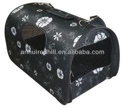 Black flower foldable dog carrier
