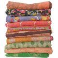 Kantha vintage edredones/cobijas, hermosa antiguo edredones/cobijas sari de algodón kantha edredones/cobijas colcha de retazos, mantas, ralli, gudri tapiz hecho a mano