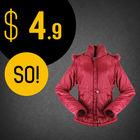 Ladies 100% Poly Satin Fashion Padding Jacket, Satin OEM Order, Detachable Hood Fashion Garment Stock