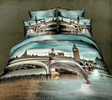 100% cotton+3d bedding+dolphin+london bridge+40s 133*72 reactive printed+bedding set
