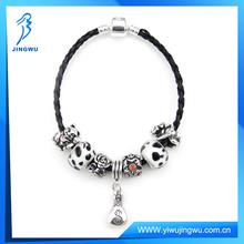 Popular glass murano black leather bracelet charm bracelet 2014