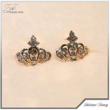 Hot sale rhinestone gold jewelry wholesale women diamond crown earrings