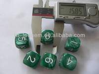 16mm 6 sided customized white numbers green marbling acrylic dice