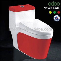 High quality color toilet New-design siphon one piece green&yellow &red color bathroom toilet