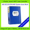 Portable controlador solar da carga controlador, 12v 24v 48v 60a bateria controlador de carga com display lcd
