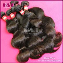 HJ unprocessed 5a grade 100% human weaving virgin peruvian hair weaving