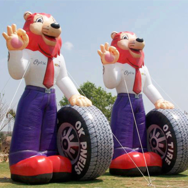 2014 new product hight 5M giant inflatable tyre mascot lion