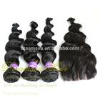 Peruvian Loose Wave Virgin Hair Bundles With Lace Closure
