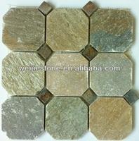 Green slate colored hexagon mosaic tile