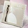 Argent bord festonné mariée& marié. carré. w7045 invitation de mariage