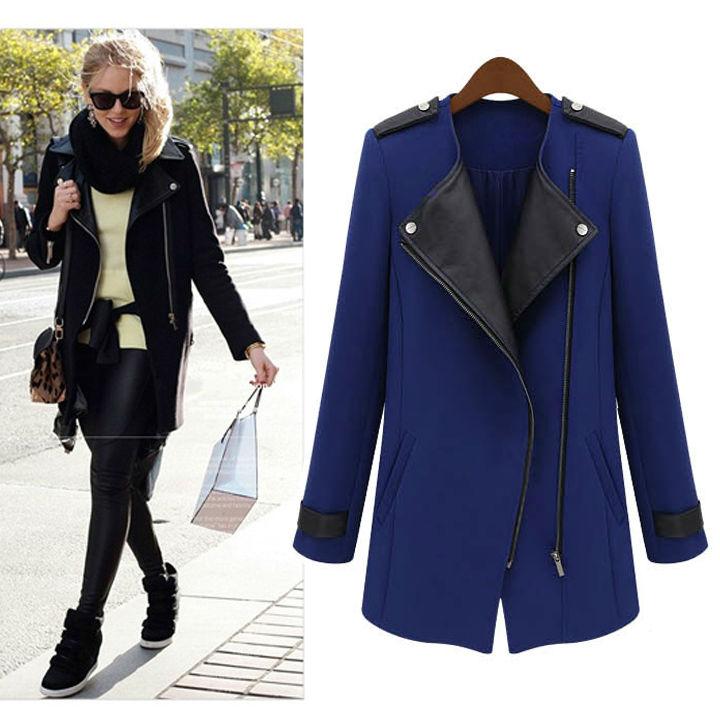 Women's Wool Leather Zipper Long Collar Jacket Coat Black, Blue S-XL19666