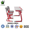 Wooden Desk Top Double Student Desk and Plastic Chairs