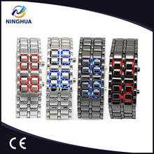 New Fashion Men Women Lava Iron Samurai Metal LED Watch Faceless Bracelet Watch Wristwatch