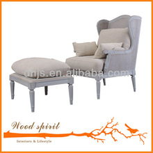 wooden lounge chair with footstool for living room furniture