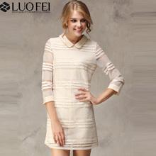 lady sweat unique lace 3/4 sleeve elegant fashion korean dress design china manufacturer