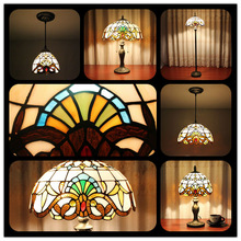 Round Stained Glass Tiffany Lamp Shade with table lamp pendant lamps