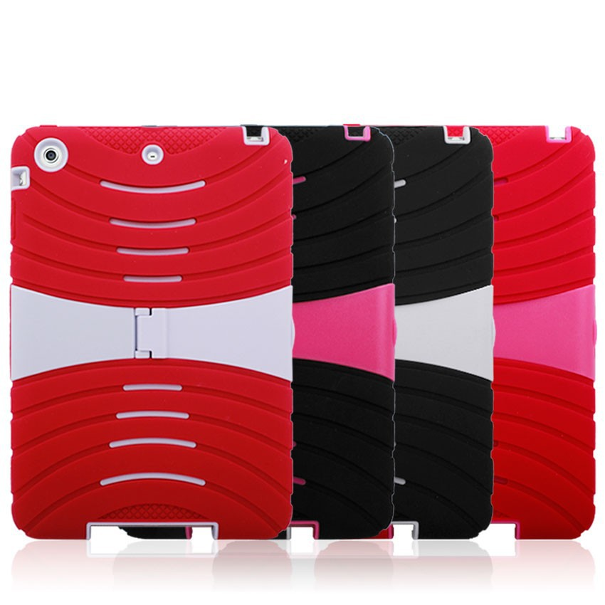 Robot Kickstand Hybrid Hard Case with Stand for iPad Mini 2-Red&Pink
