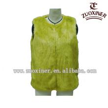 2014 faux plus size yellow rabbit fur waistcoats for ladies