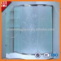 """3/8"""" 6mm frameless acid etched tempered glass shower doors"""