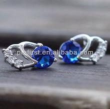 Stud Earring Real 18K White Gold Filled Blue CZ Jewelry Earplugs Gift SHIP USA