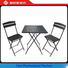 3pc metal & polywood outdoor folding bistro table and chair set bistro table