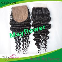 Deep wave closure brazilian virgin hair silk base top closure hair piece for women medium brown scalp 4x4 and 3.5x4 free part